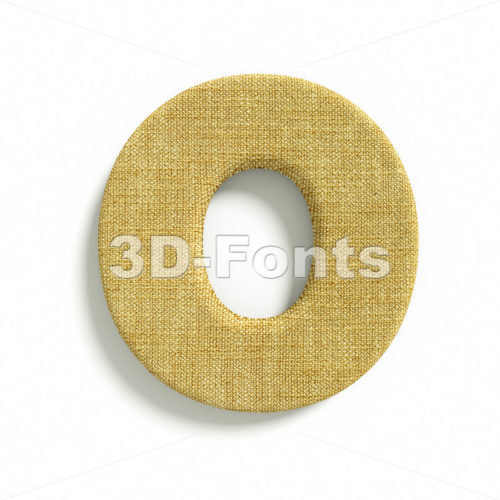 3d Upper-case letter O covered in jute texture