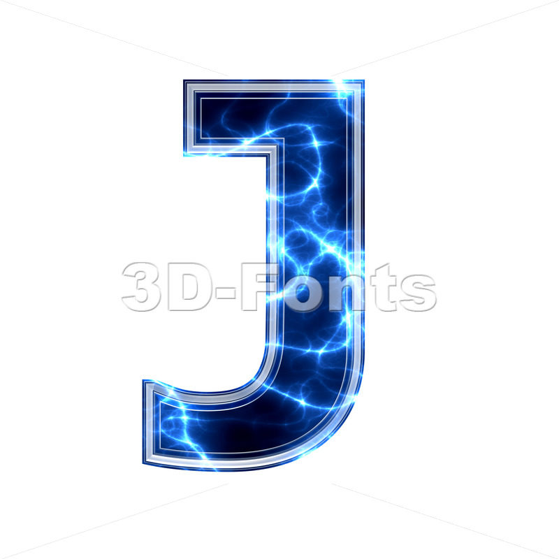 3d Uppercase font J covered in Blue power texture - 3d-fonts.com