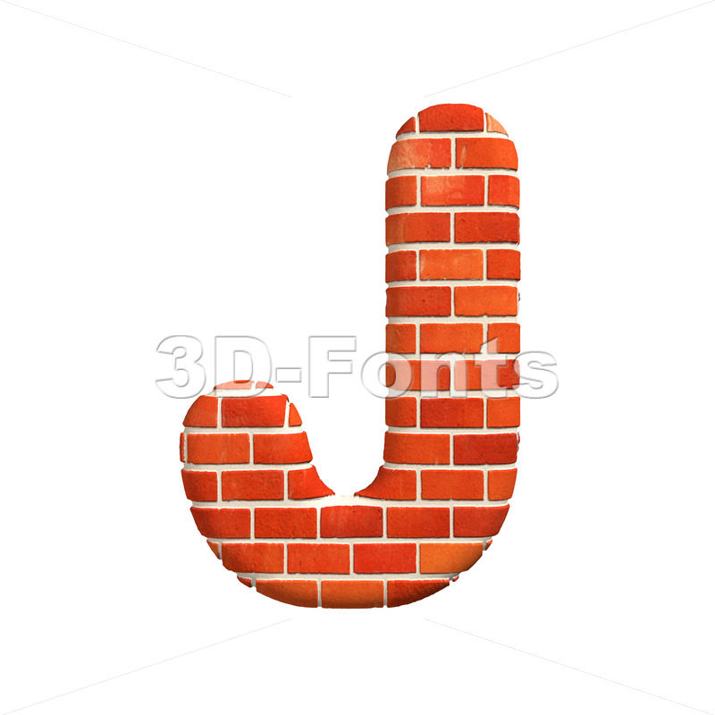 3d Uppercase font J covered in Red brick texture