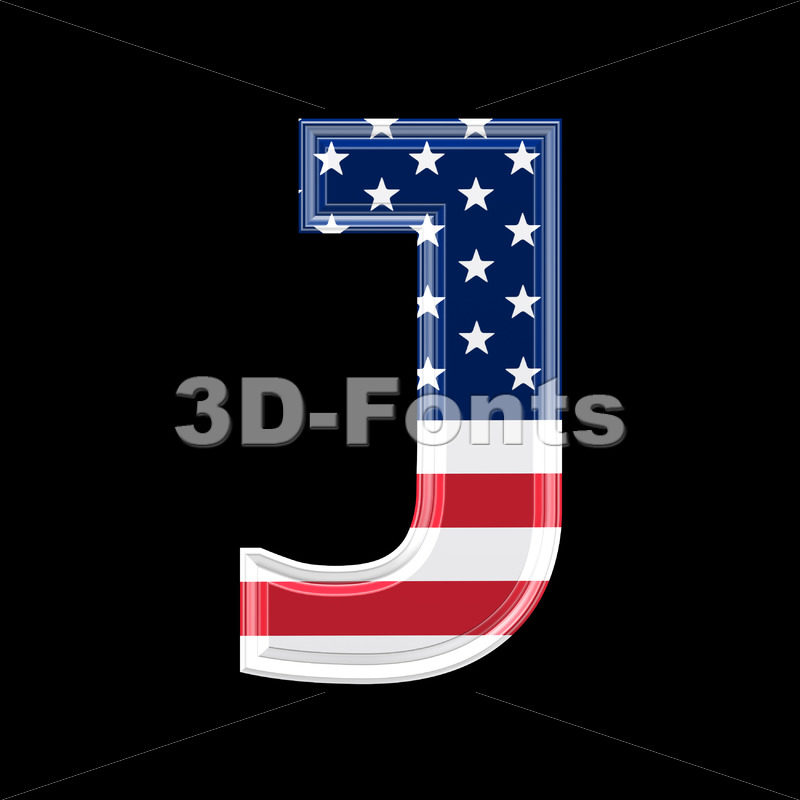 3d Uppercase font J covered in US texture – Capital 3d character