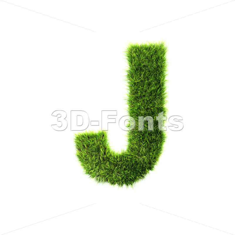 3d Uppercase font J covered in herb texture – Capital 3d character