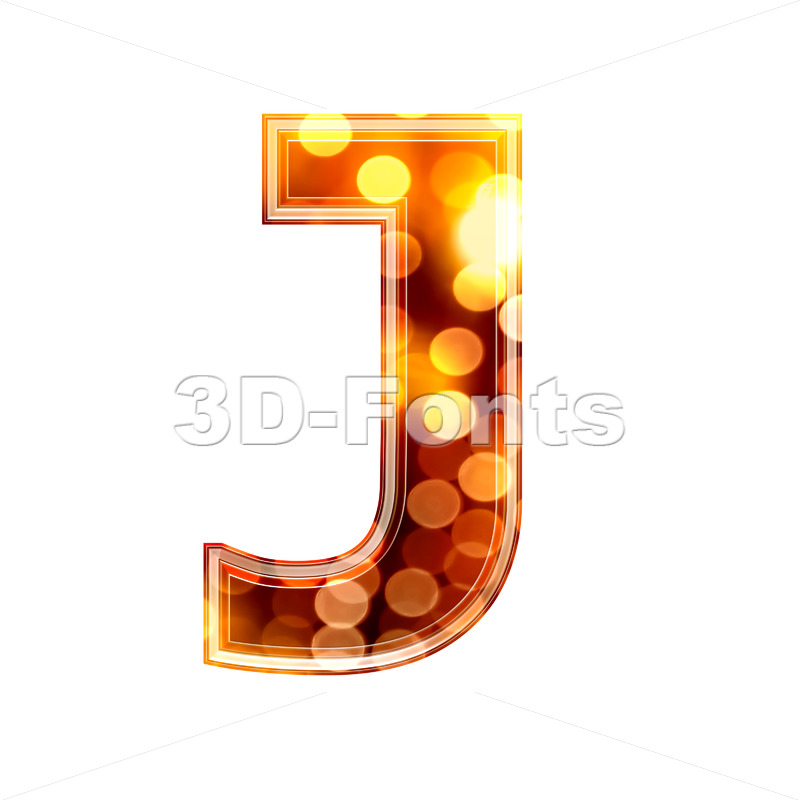 3d Uppercase font J covered in orange lights texture