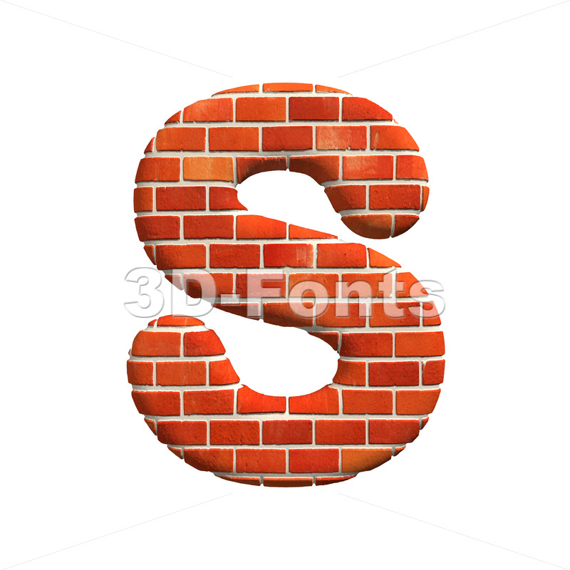 3d Uppercase font S covered in Brick texture – Capital 3d letter