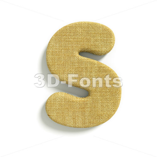 3d Uppercase font S covered in Hessian texture