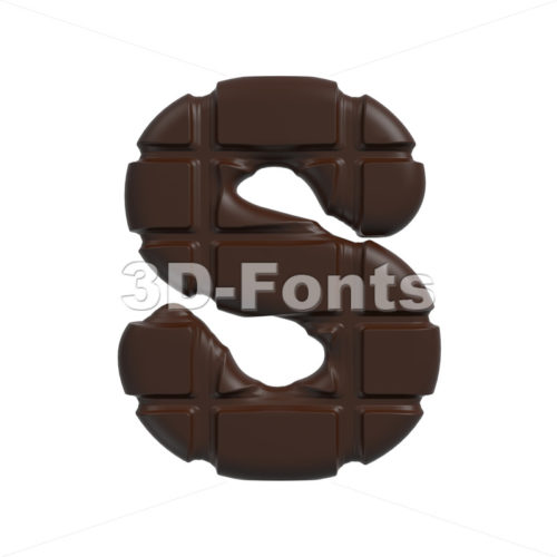 3d Uppercase font S covered in chocolate texture