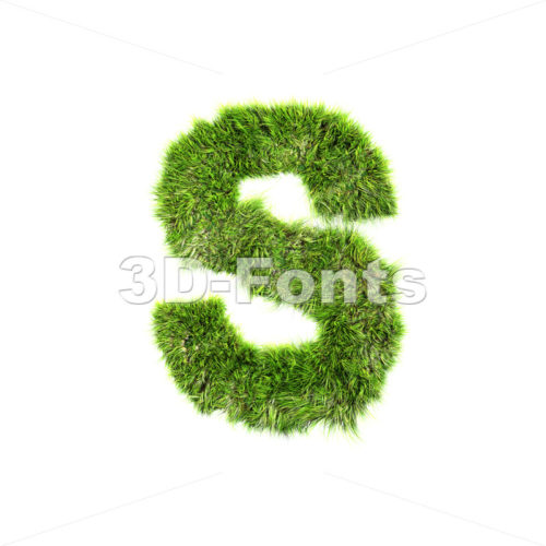 3d Uppercase font S covered in green herb texture