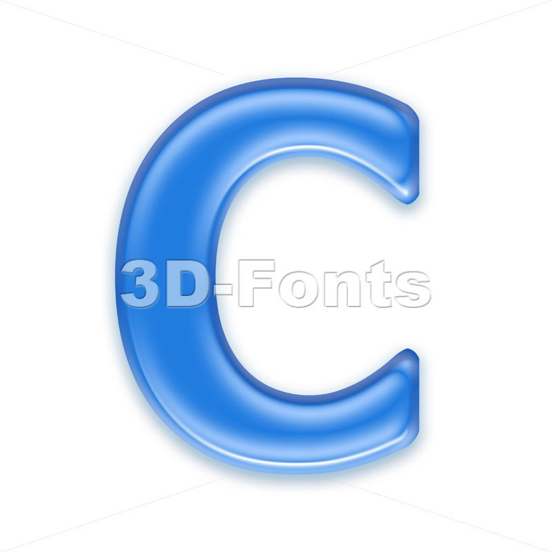 3d blue jelly font C – Capital 3d letter