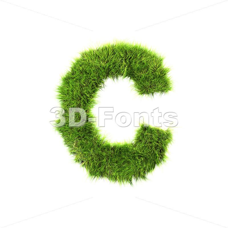 3d green grass font C – Capital 3d letter