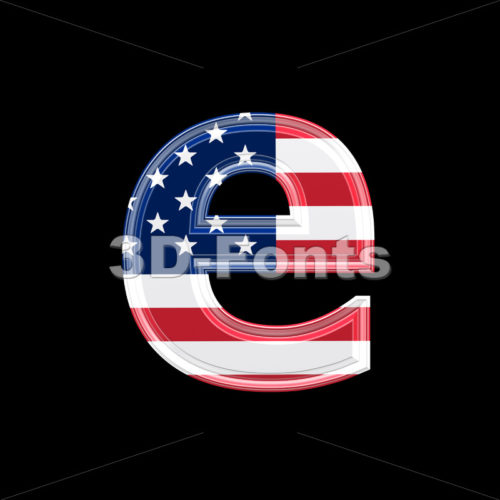 American 3d character E – Lower-case 3d letter