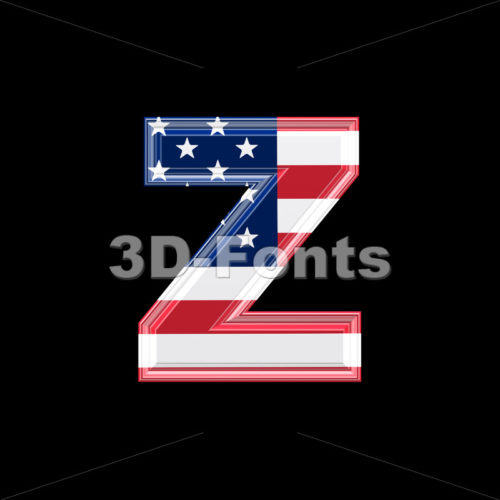 American 3d character Z – Lower-case 3d font