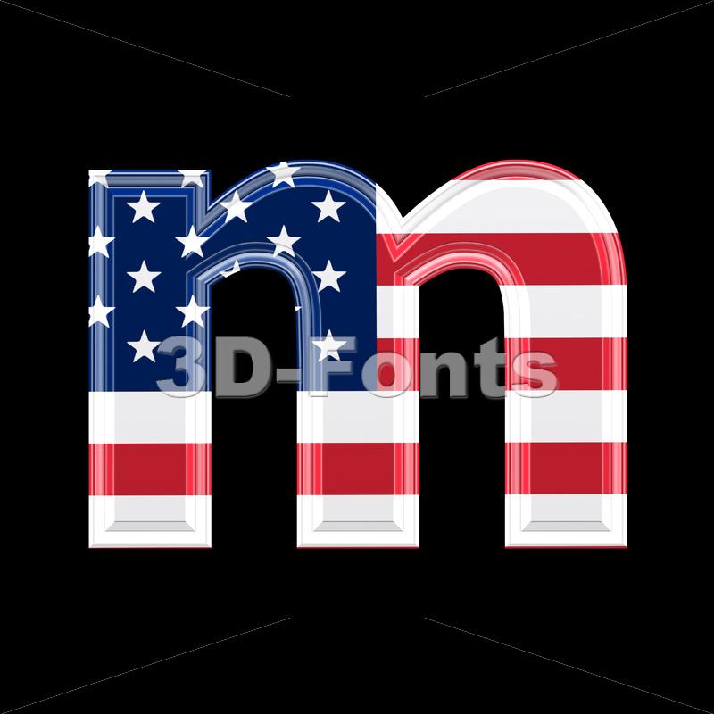 American 3d font M – Lowercase 3d letter