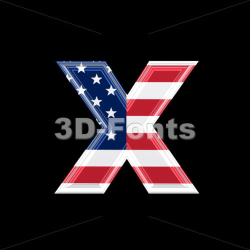 American flag 3d font X – Small 3d letter
