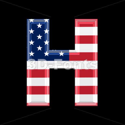 American flag 3d letter H – Upper-case 3d character