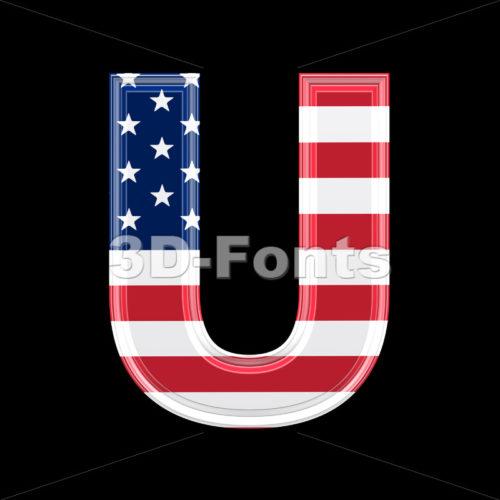 American flag 3d letter U – Capital 3d font