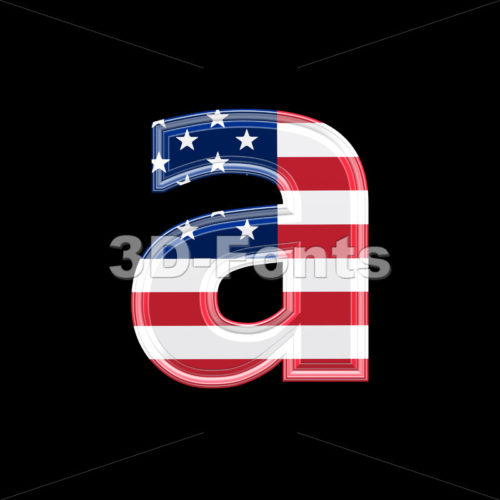 American flag font A – Lowercase 3d letter