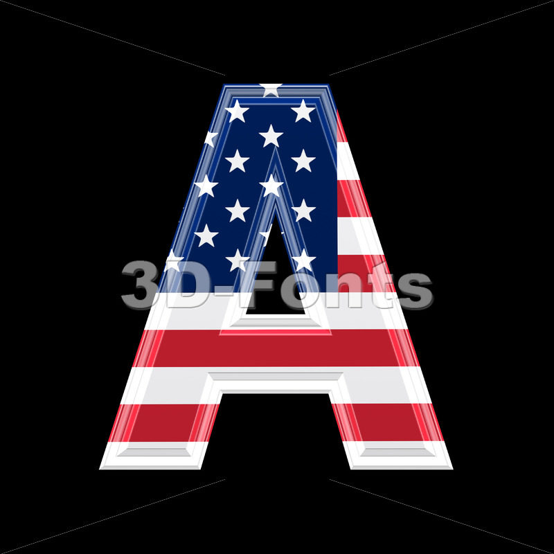 American flag letter A – Capital 3d character