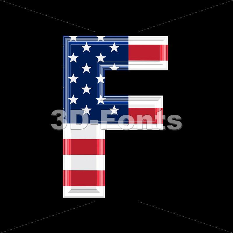 American flag letter F – Upper-case 3d font