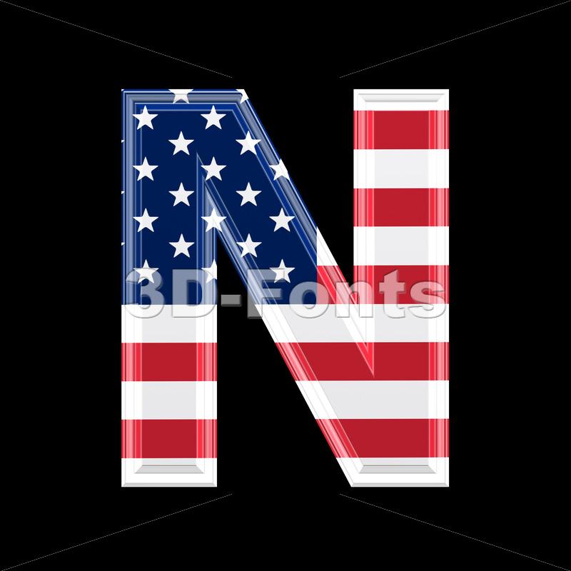 American font N – Capital 3d letter