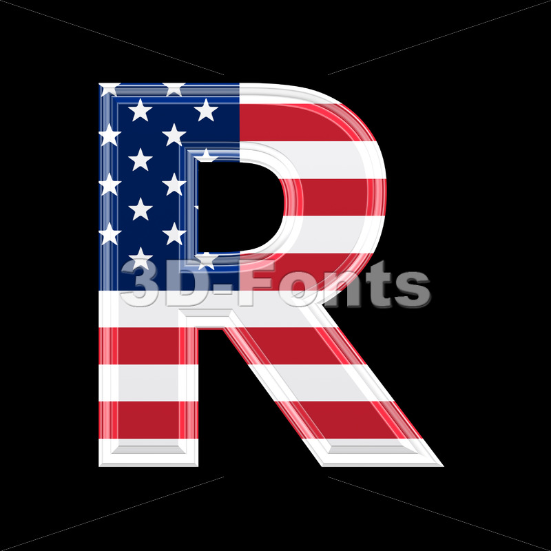 American letter R – Uppercase 3d font