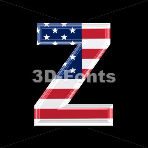 American letter Z – Upper-case 3d font