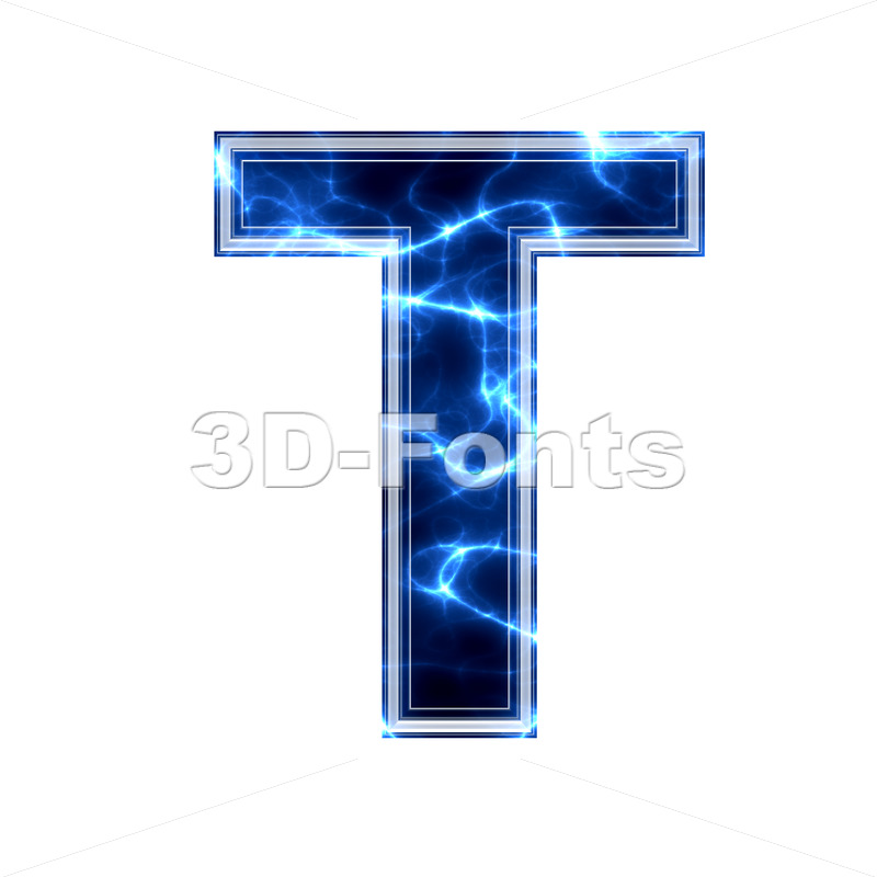 Blue power character T - Uppercase 3d letter - 3d-fonts.com