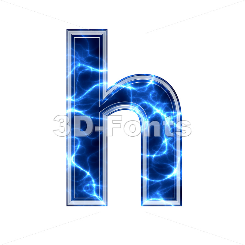 Blue power font H – Lower-case 3d letter