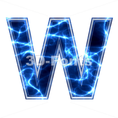 Blue power font W - Capital 3d letter - 3d-fonts.com