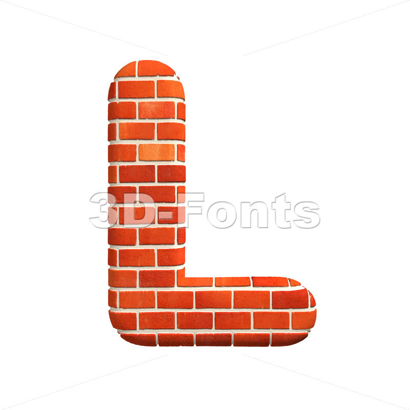 Brick 3d font L – Capital 3d character