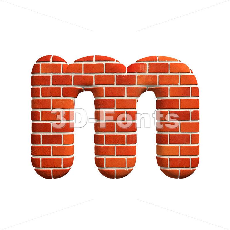 Brick 3d font M – Lowercase 3d letter