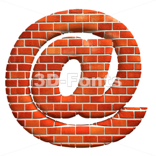 Brick at-sign – 3d arobase symbol