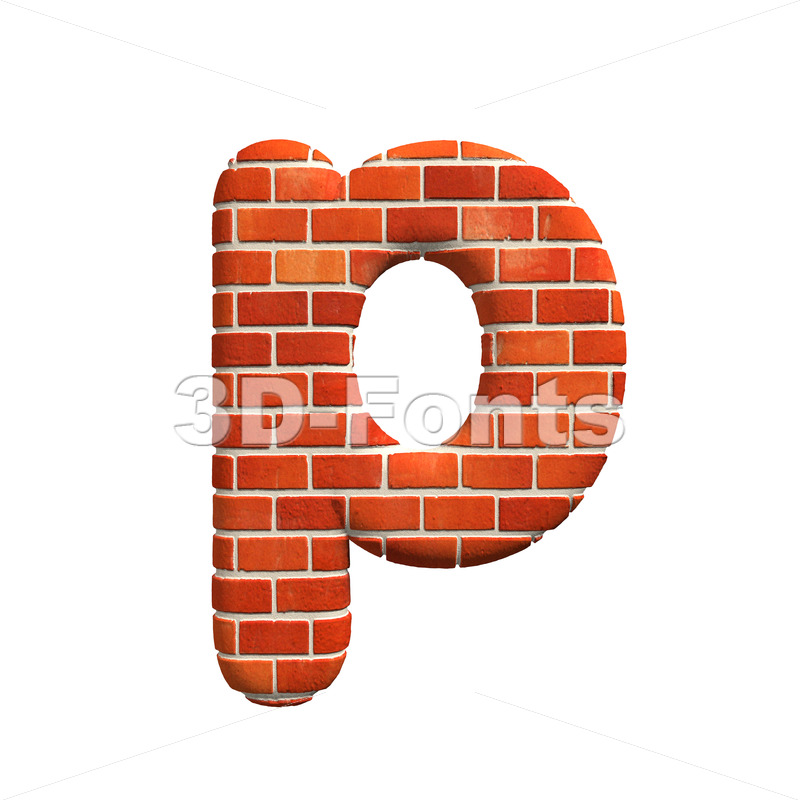 Brick character P – Lowercase 3d font