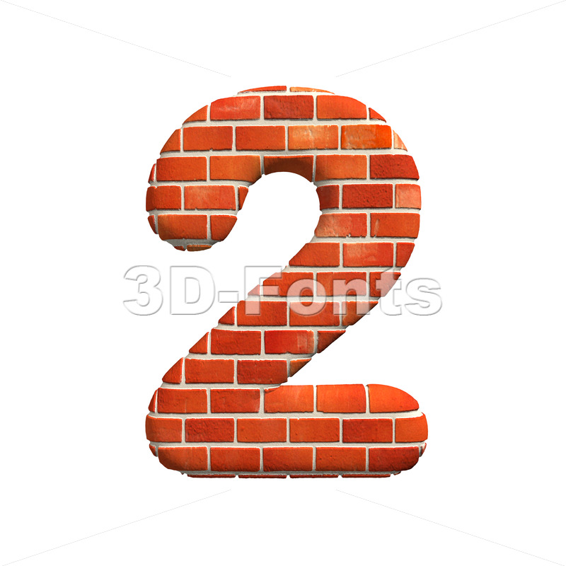 Brick digit 2 – 3d number