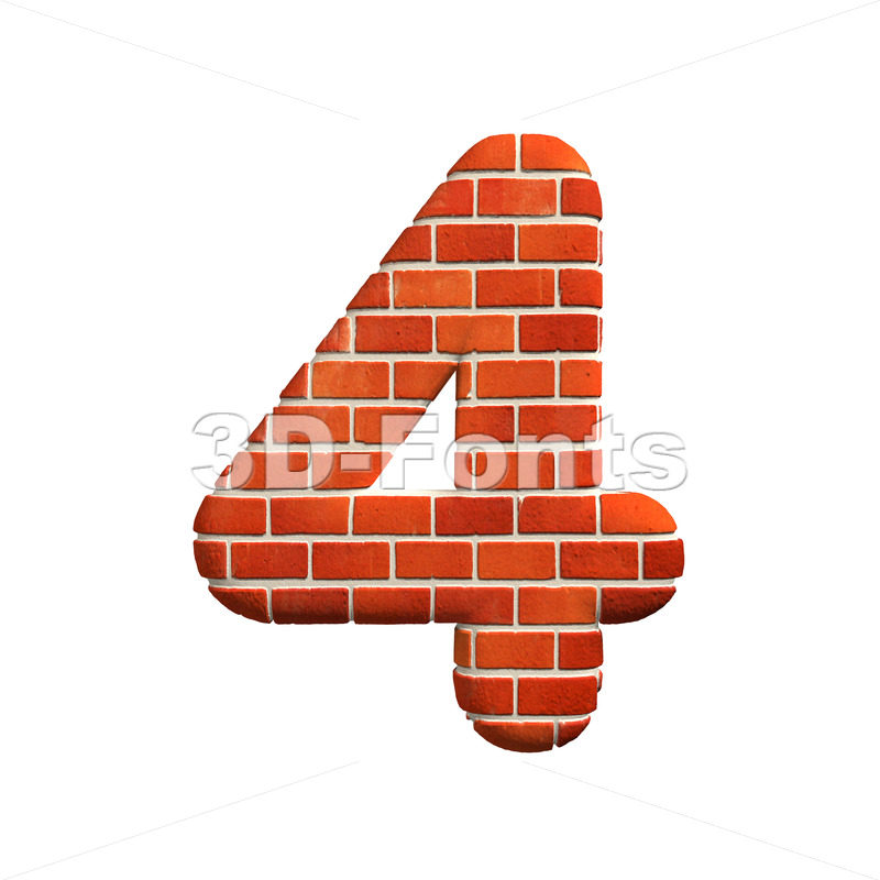 Brick digit 4 – 3d number