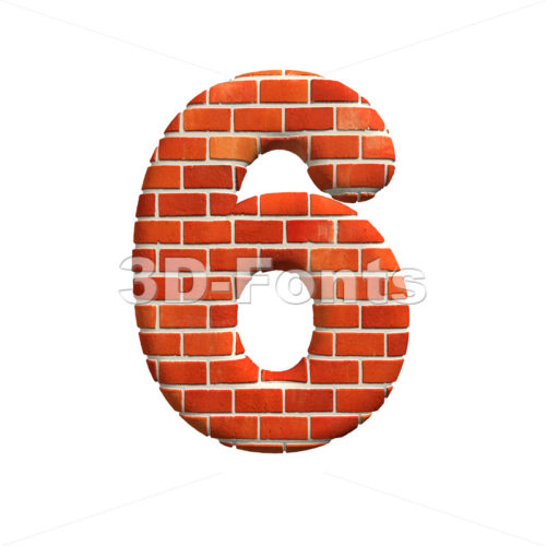 Brick digit 6 – 3d number