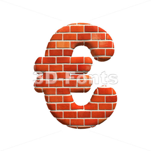 Brick euro currency sign – 3d business symbol