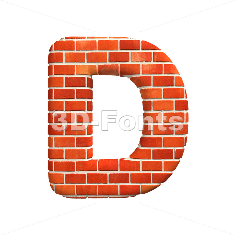 Brick font D - Capital 3d character