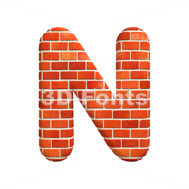 Brick font N – Capital 3d letter