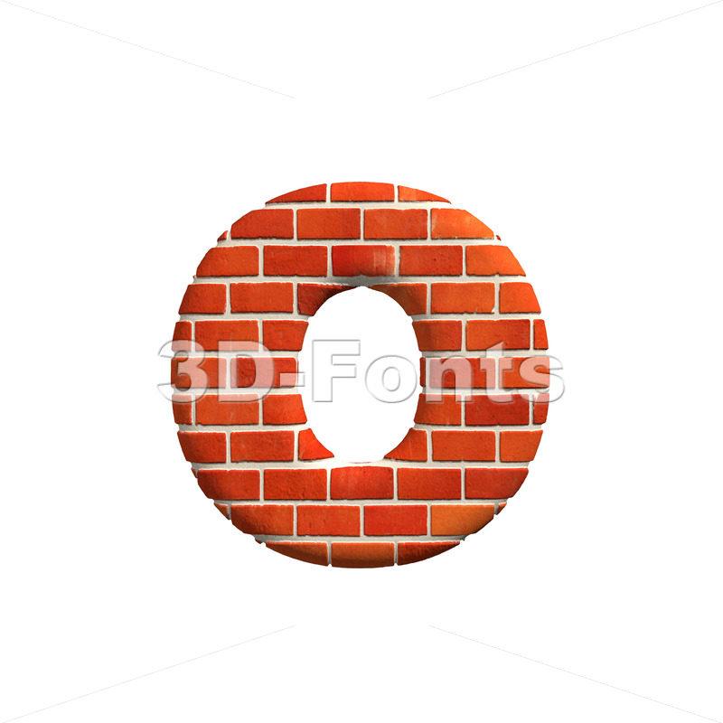 Brick font O – Small 3d letter