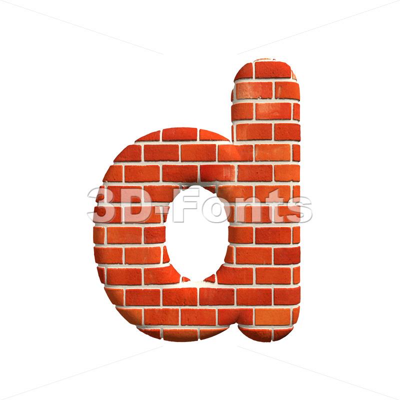 Brick letter D – Lowercase 3d font