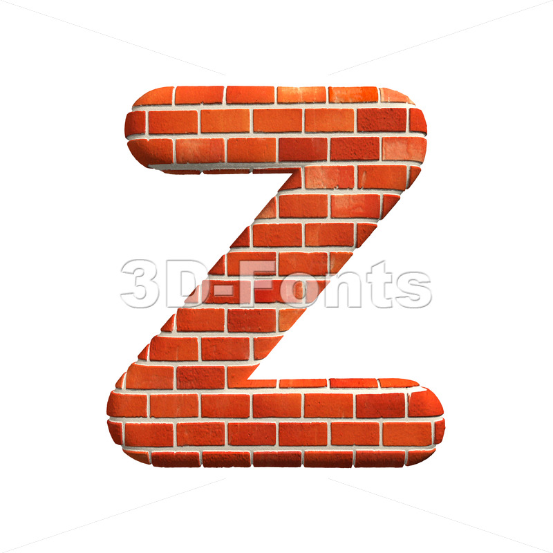 Brick letter Z – Upper-case 3d font