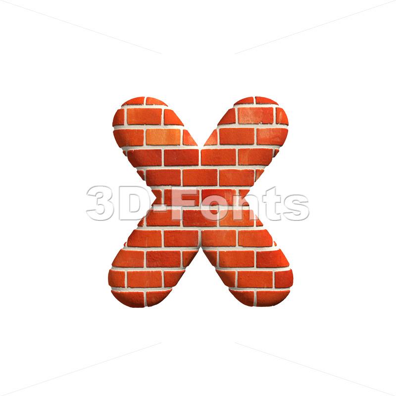 Brick wall 3d font X – Small 3d letter