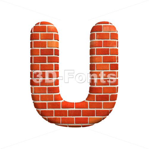 Brick wall 3d letter U – Capital 3d font