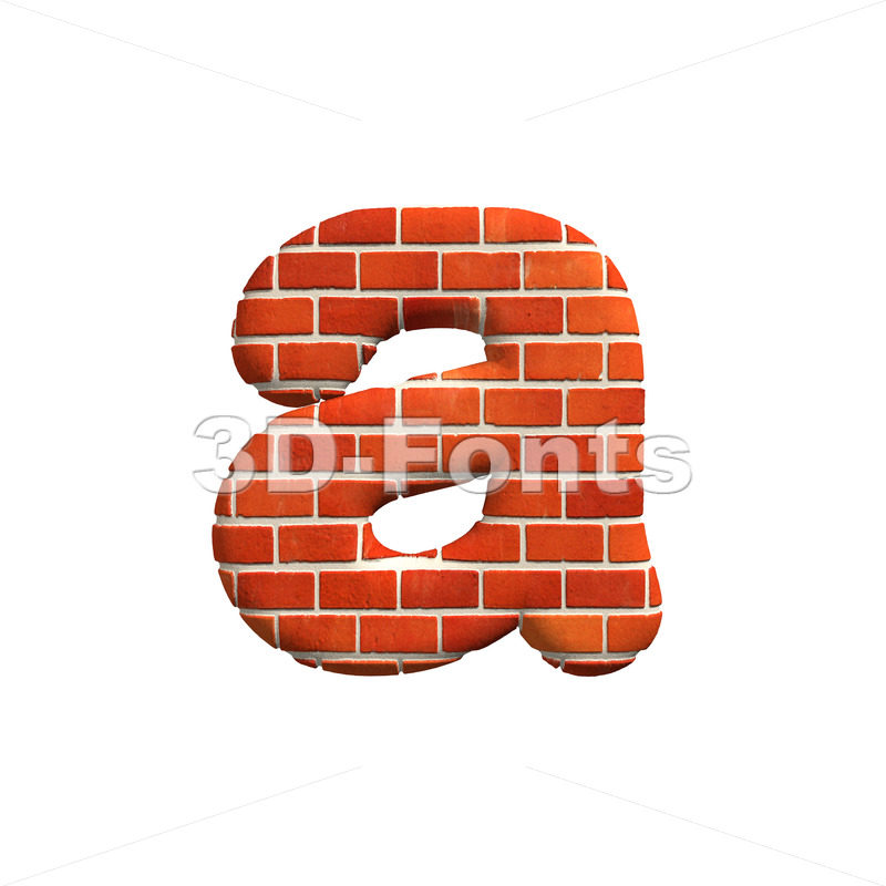 Brick wall font A – Lowercase 3d letter