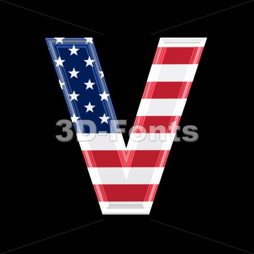 Capital American flag letter V – Upper-case 3d character