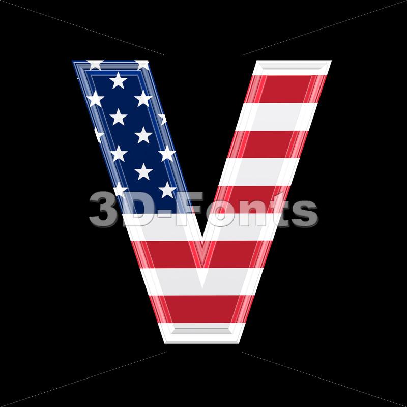 Capital American flag letter V – Upper-case 3d character