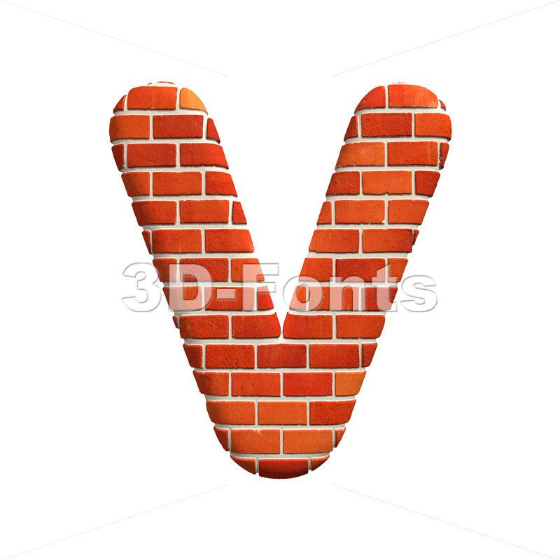 Capital Brick wall letter V – Upper-case 3d character