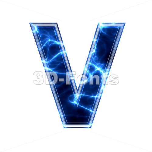Capital Electric letter V - Upper-case 3d character - 3d-fonts.com