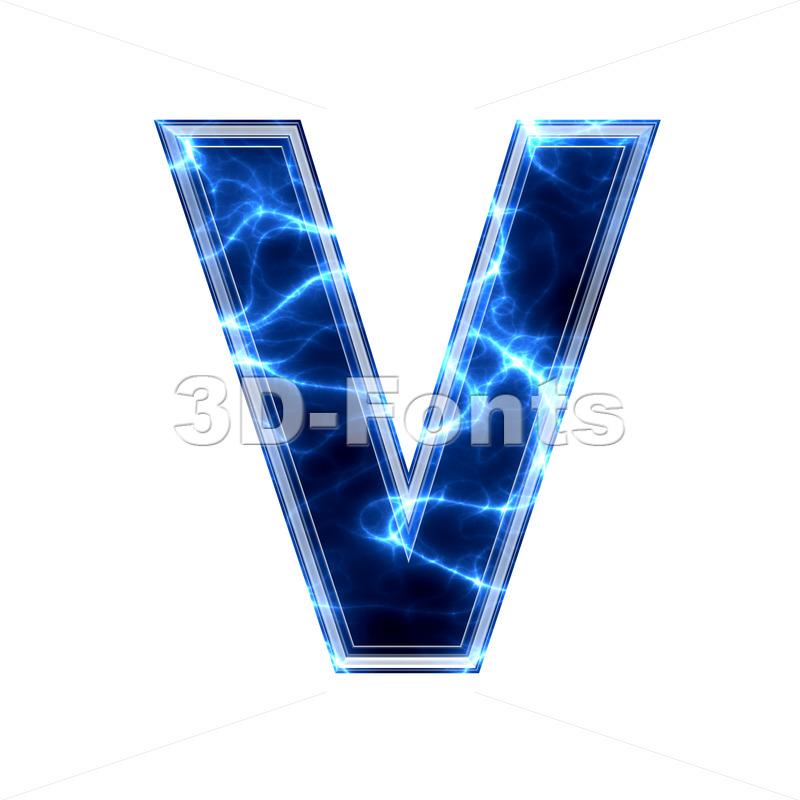 Capital Electric letter V - Upper-case 3d character - 3d-fonts.com