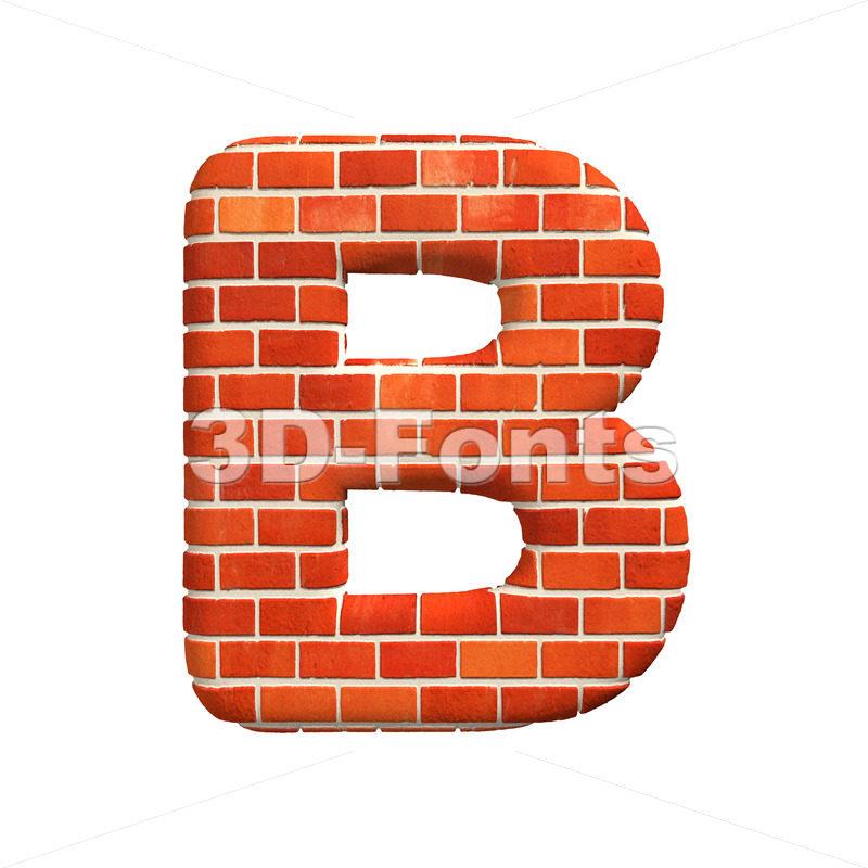 Capital Red brick letter B – Upper-case 3d font