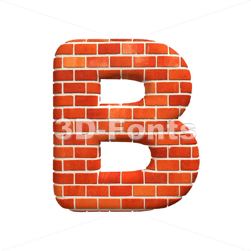 Capital Red brick letter B – Upper-case 3d font